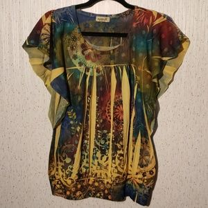 One World live and let live flutter sleeve top